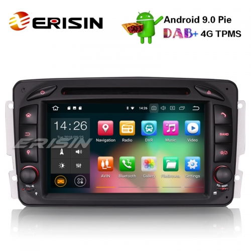 "Erisin ES4863C 7"" Android 9.0 Car Stereo GPS DAB+ 4G BT DVD for Mercedes C/CLK/G Class W203 Vito Viano"