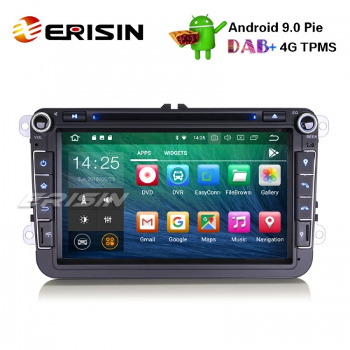 "Erisin ES4815V 8"" DAB+ OPS Car Stereo Android 9.0 For VW Golf Passat Tiguan Polo Seat Skoda GPS DVD"
