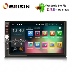 "Erisin ES4841U 7"" Double 2 Din Android 9.0 Car Stereo GPS WiFi DAB+DVR DTV Bluetooth OBDII Sat Nav"