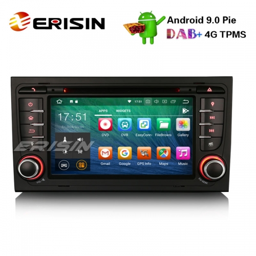 "Erisin ES4878A 7"" Android 9.0 Car Stereo DAB+ GPS Wifi DVR CD 4G BT AUDI A4 S4 RS4 B7 B9 SEAT EXEO"