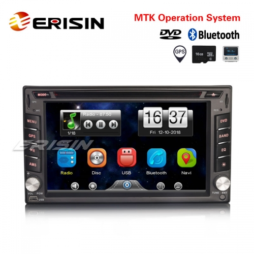 "Erisin ES6211U 6.2"" Double Din Universal Car Stereo DVD USB GPS Bluetooth Radio+16GB TF Card Sat Nav"