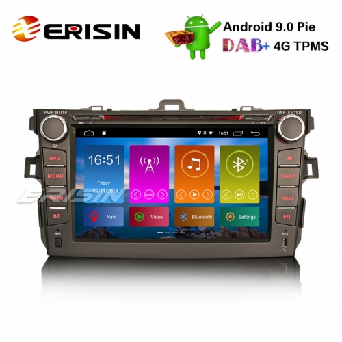 "Erisin ES2916C 8"" DAB+ Android 9.0 Pie Car Stereo GPS WiFi DVR TPMS TOYOTA COROLLA 2007-11 Sat Nav"