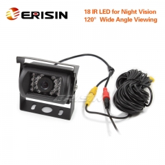Erisin ES388-R 12V/24V Waterproof 18 LED Night Vision CCD Car/Truck Rear View Camera