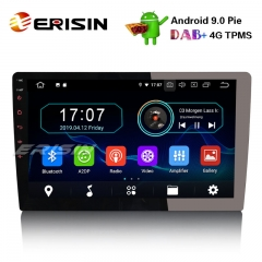 "Erisin ES4910U 1 Din 10.1"" Android 9.0 Autoradio WiFi DAB+ GPS TNT DVR Bluetooth RDS"