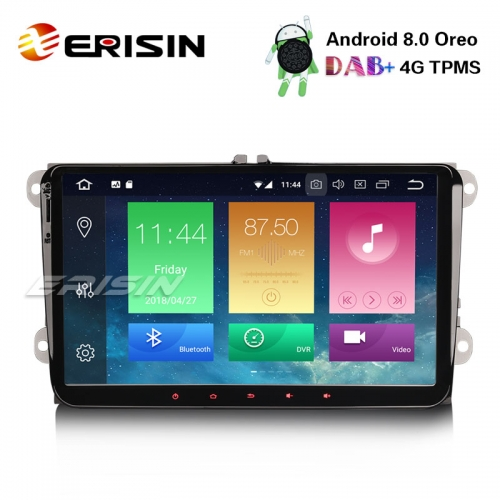 "Erisin ES7491V 9"" Car Stereo For VW Passat Eos Golf Touran Jetta Android 8.0 DAB+GPS OPS 4G DTV"