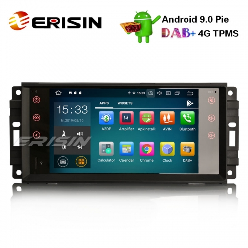 "Erisin ES7976J 7"" DAB+ Android 9.0 Autoradio OBD GPS Sat for Jeep Compass Wrangler Commander Dodge Chrysler"
