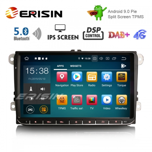"Erisin ES8028V 9"" DAB+ Android 9.0 Car GPS IPS DSP BT5.0 for VW Passat Golf 5/6 Polo Tiguan Eos Caddy Seat"