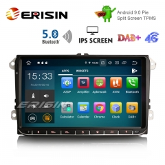 "Erisin ES8028V 9"" DAB+ Android 9.0 Car GPS IPS BT5.0 for VW Passat Golf 5/6 Polo Tiguan Eos Caddy Seat"