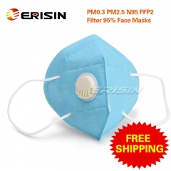 Erisin ES124 Folding N95 FFP2 P2 MASK with Breathing Valve Anti-Dust Respirator self-priming filter Plow