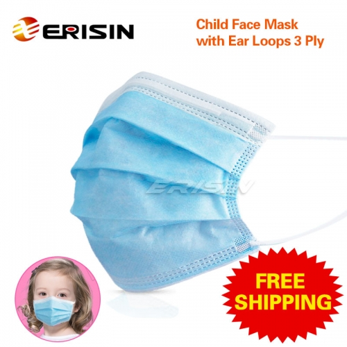 ES125 Child Face Mask Disposable Protection Anti-Dust Dustproof Nonwoven Fabric CE Certified Blue Children