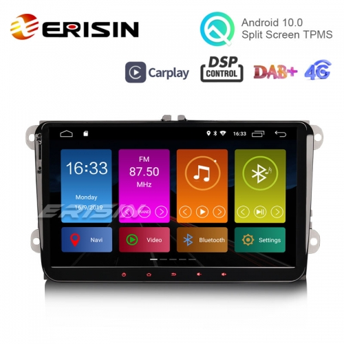 "Erisin ES3091V 9"" DAB+ Android 10.0 Stereo GPS DSP CarPlay for VW Passat CC Golf Touran Polo Seat"