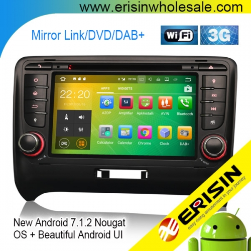"Erisin ES3779T 7"" AUDI TT MK2 Android 7.1 Car Stereo System 3G Radio DVD Player GPS Navigation"