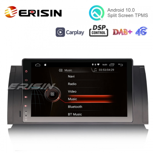 "Erisin ES4293B 9"" Android 10.0 OS Car Stereo GPS 4G TPMS DAB+ Apple CarPlay DSP for BMW E53 E39"