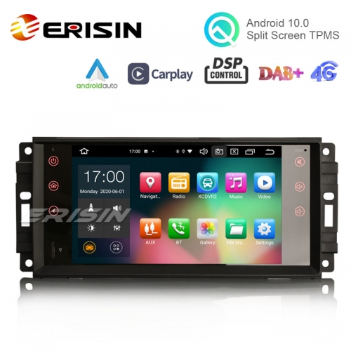 "Erisin ES8176J 7"" PX5 64G Jeep Android 10.0 Car Stereo DSP CarPlay & Auto GPS TPMS DAB+ 4G for for Compass Wrangler Commander Dodge Chrysler"