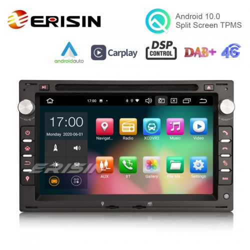 "Erisin ES8186V 7"" Android 10.0 Car Stereo for VW Golf Passat Polo Bora Seat Peugeot 307 DSP CarPlay & Auto GPS TPMS DAB+ 4G 64G"