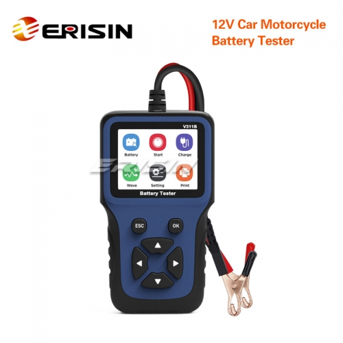 Erisin ES392 12V Car Motorcycle Battery Tester Load Charging Cranking System Test Tool