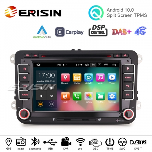 "Erisin ES8148V 7"" Android 10.0 Car Stereo for VW Golf Jetta Passat Seat Skoda DSP CarPlay & Auto GPS TPMS DAB+ 4G DVD System"